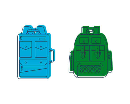 Rucksack or schoolbag with pockets and zipper element. Education and study backpack for students and traveling icon. Tourism bag. Front view. Flat line art illustration isolated on white background. Illusztráció