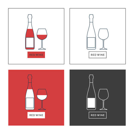 Bottle and glass red wine line art in flat style. Set of shapes of contour elements. Restaurant alcoholic illustration for celebration design. Beverage outline icon. Isolated sign on white background. Illusztráció