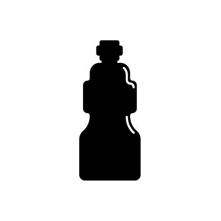 Cosmetic container in the form of plastic bottle. Oil, lotion, body care hygiene. Illustration design in the form of silhouette with thin white lines. Isolated icon in flat style on background.