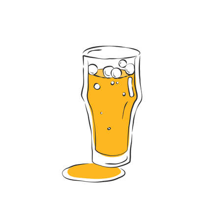 Beer glass. Drink element. Color object. Wineglass beverage, design for any purposes. Hand draw icon. Restaurant illustration. Simple sketch. Isolated on white background in engraving style. Illusztráció