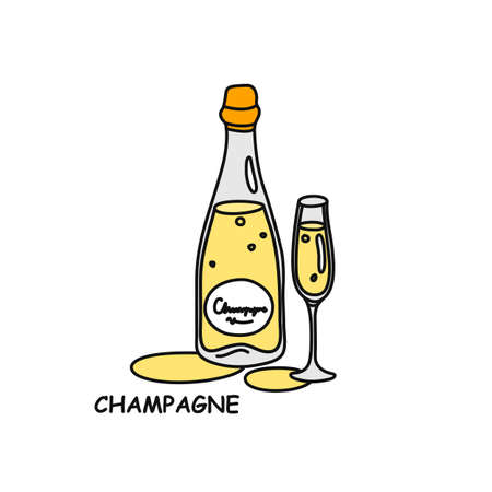 Champagne bottle and glass outline icon on white background. Colored cartoon sketch graphic design. Doodle style. Hand drawn image. Party drinks concept. Freehand drawing style.