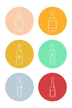 Bottle of tequila, rum, martini, vermouth, vodka and red wine in form of thin lines. Isolated object design beverage. Graphic illustration in flat style. Icon for restaurant in circle backdrop. Illusztráció