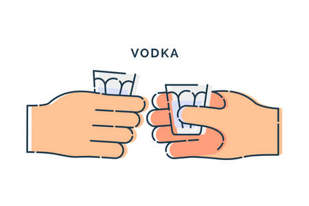 Two human hand holding a glass of vodka. Line art design element on white background. Fingers person with stack with strong alcohol. Concept of time to drink alcohol. Modern graphic style illustration Illusztráció
