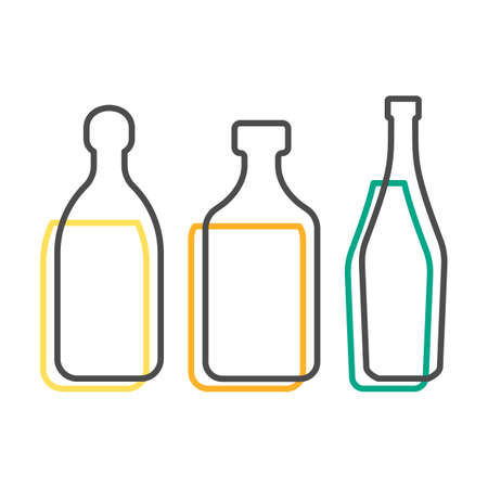 Simple line shape of tequila rum and martini bottle. One contour figure of flask, the second drink. Outline symbol beverage black color. Sign liquid colored. Isolated flat illustration.