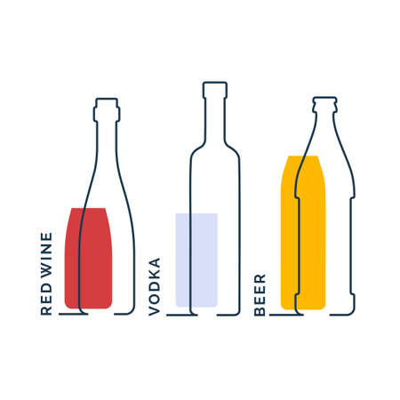 Bottles red wine vodka beer in row. Continuous line object on white background. Black thin outline and color fill. Modern flat style graphic design. Contour element illustration.