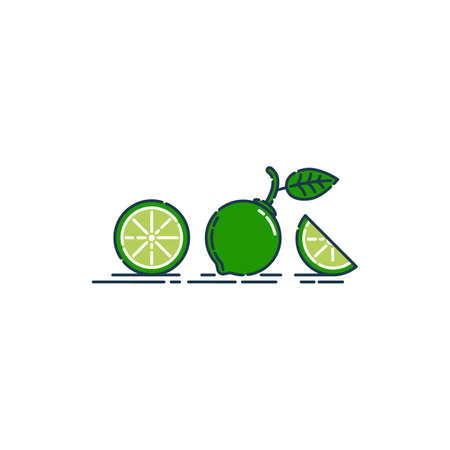 Whole, cut and slice in half lime fruit isolated on white background. Organic product. Bright summer harvest illustration. Flat style illustration for any design. Fresh cut citrus icon.