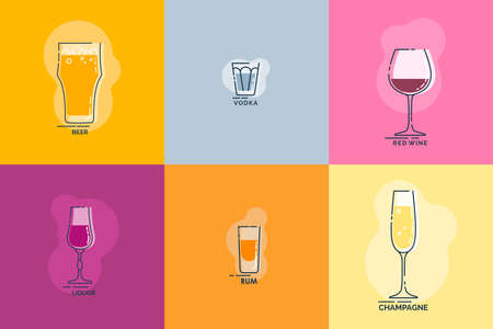 Shot beer, vodka, red wine, liquor, rum, champagne wineglass line art in flat style. Restaurant alcoholic illustration for celebration design. Beverage outline icon. Isolated contour object.
