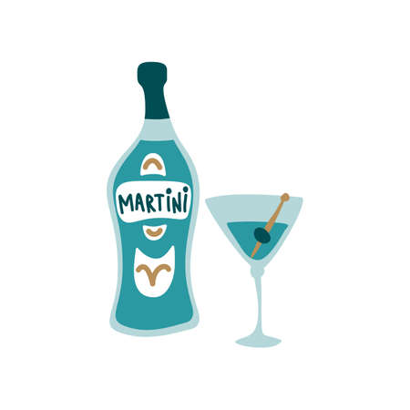 Blue martini bottle and wineglass on white background. Cartoon sketch graphic design. Doodle style. Hand drawn image. Party drinks concept. Freehand drawing style.
