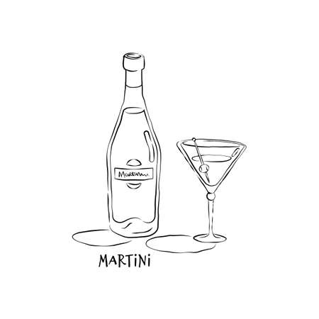 Bottle and glass martini in hand drawn style. Restaurant illustration for celebration design. Retro sketch. Line art. Design element. Beverage outline icon. Isolated on white background.