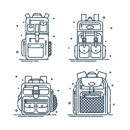 Four rucksack or schoolbags with pockets and zipper element. Education backpack for students and traveling icon. Tourism bag. Front view. Set flat line art illustration isolated on white background.