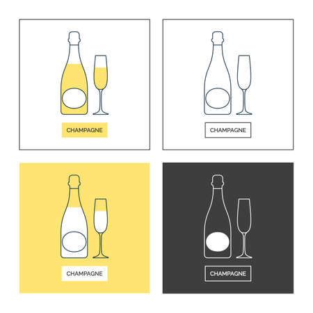 Bottle and glass champagne line art in flat style. Set of shapes of contour elements. Restaurant alcoholic illustration for celebration design. Beverage outline icon. Isolated sign on white background.