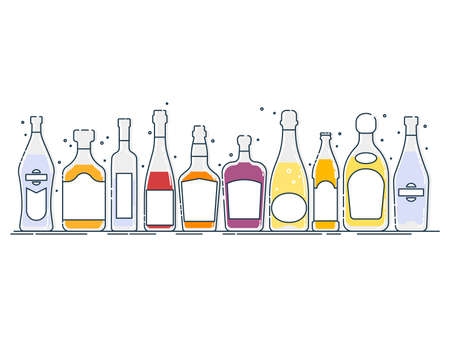 Collection bottle alcoholic drinks. Alcohol container stand in row. Illustration isolated. Flat design style with color fill. Beer champagne wine whiskey liquor vodka martini whiskey rum tequila.