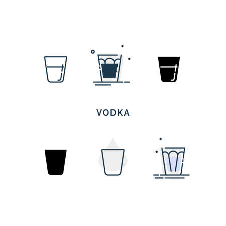 Set of glasses with vodka in different styles. Shot glass drinks. Template alcohol beverage for restaurant, bar, pub. Symbol party. Collection one drink. Isolated flat illustration on white background.