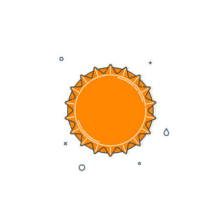 Color flat illustration with a bottle cap on a white background. Yellow cover metal cork. Isolated element. Line art design. Top view. Outline a single drink object.