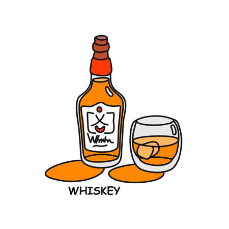 Whiskey bottle and glass outline icon on white background. Colored cartoon sketch graphic design. Doodle style. Hand drawn image. Party drinks concept. Freehand drawing style.