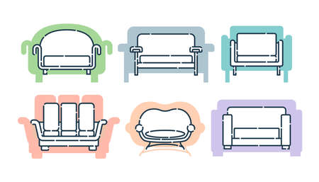 Six comfortable sofa with pillows. Flat illustration with settee on shape background. Modern stylish object for relaxation. Set images of couch in line art style. Element furniture of the interior.