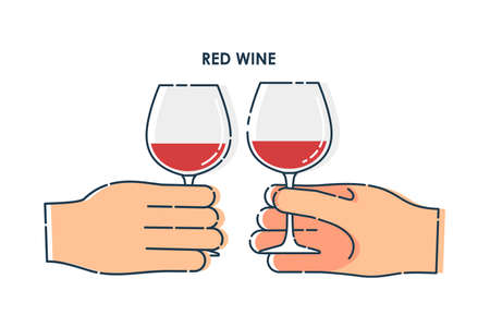 Two human hand holding a glass of red wine. Line art design element on white background.