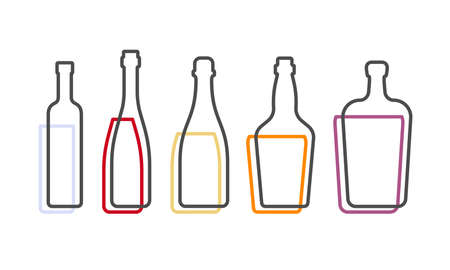 Simple line shape of vodka red wine champagne whiskey liquor bottle. One contour figure of bottle, the second drink. Outline symbol beverage black color. Sign liquid colored. Isolated illustration.