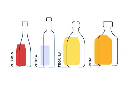 Bottles red wine vodka tequila rum in row. Continuous line object on white background. Black thin outline and color fill. Modern flat style graphic design. Logo contour element illustration.