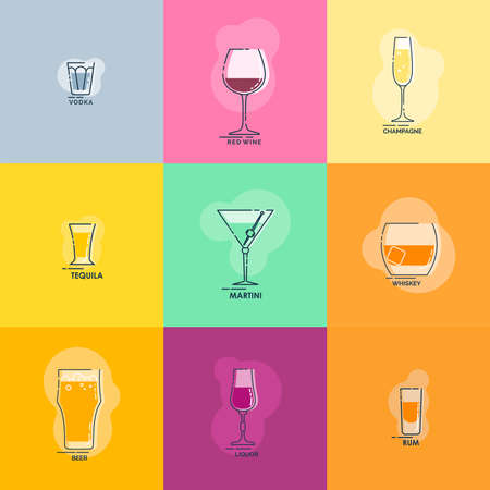 Shot vodka tequila whiskey rum. Wineglass red wine martini champagne beer liquor line art in flat style. Restaurant alcoholic illustration. Celebration design. Beverage outline icon. Isolated object.