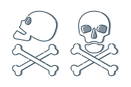 Human skull in side and full face view and crossbones on white background. Isolated illustration in flat style. Poison sign and symbol for design. An image of danger to humans. Icon of hazard to life Illusztráció