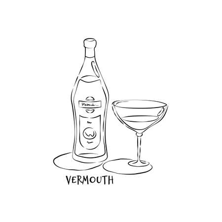 Bottle and glass vermouth in hand drawn style. Restaurant illustration for celebration design. Retro sketch. Line art. Design element. Beverage outline icon. Isolated on white background.