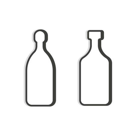 Tequila and rum bottle line. Simple template. Two isolated object. Symbol in thin lines for alcoholic institutions, bars, restaurants, and pubs. Dark outline. Flat illustration on white background.