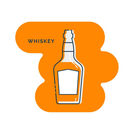 Bottle whiskey line art in flat style. Restaurant alcoholic illustration for celebration design. Design contour element. Beverage outline icon. Isolated on shape background in graphic style.