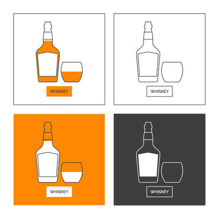 Bottle and glass whiskey line art in flat style. Set of shapes of contour elements. Restaurant alcoholic illustration for celebration design. Beverage outline icon. Isolated sign on white background.