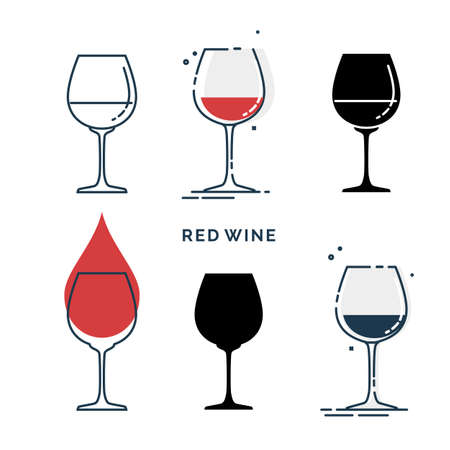 Set of glasses with red wine in different styles. Shot glass drinks. Template alcohol beverage for restaurant, bar, pub. Symbol party. Collection one drink. Isolated flat illustration on white background.