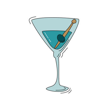 Blue martini wineglass with olive on white background. Cartoon sketch graphic design. Doodle style. Colored hand drawn image. Party drink concept for restaurant, cafe, party. Freehand drawing style.