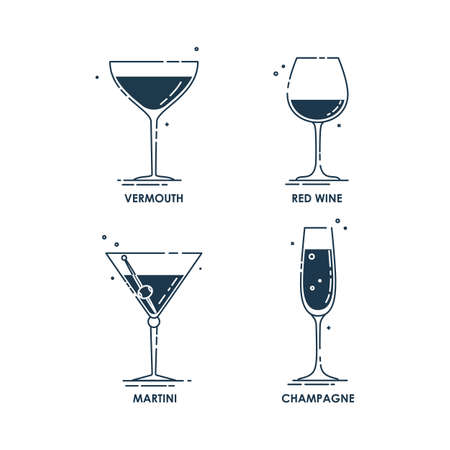Glassware vermouth red wine martini champagne line art in flat style. Restaurant alcoholic illustration for celebration design. Contour element. Beverage outline icon. Isolated on white background. Illustration