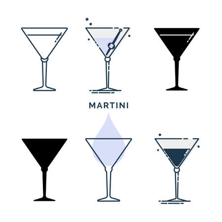 Set of glasses with martini in different styles. Template alcohol beverage for restaurant, bar, pub. Glassware symbol party. Collection one drink. Isolated flat illustration on white background.