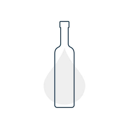 Modern abstract illustration with bottle vodka with gray blob. Linear outline sign. illustration on white background. Contour symbol for decoration design. Simplicity concept. 向量圖像
