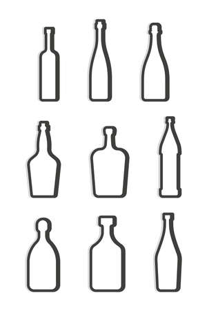 Vodka red wine champagne whiskey liquor rum martini beer tequila bottle. Simple linear shape. Set isolated object. Symbol in thin lines. Dark outline. Flat illustration on white background.