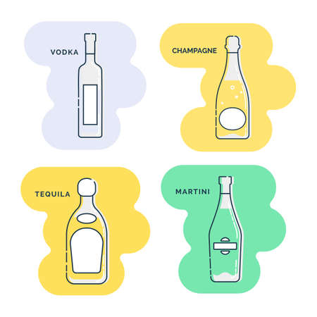 Bottle vodka champagne tequila martini line art in flat style. Restaurant alcoholic illustration for celebration design. Art contour element. Beverage outline icon. Isolated on shape background in graphic style.