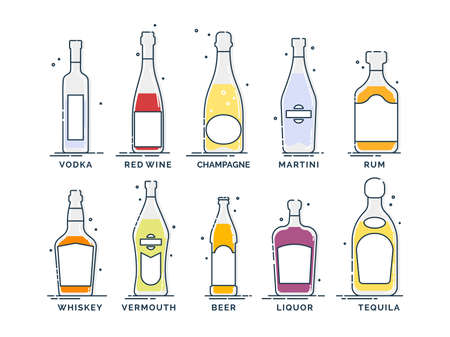 Flat line icon with bottle alcohol on white background. Collection drinks. Bar sign. Isolated object. Vodka, wine, champagne, whiskey, liquor, beer, tequila, rum, martini, vermouth. Pub beverage.