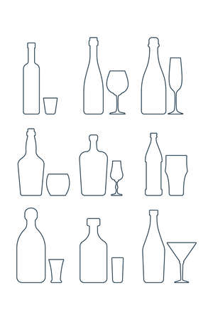 Set bottle and glassware alcoholic drinks. Simple black line shapes isolated. Illustration on white background. Flat style. Beer champagne red wine whiskey liquor vodka martini rum tequila.
