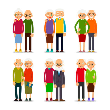 Six couples older people. People stand in pairs. Elderly man and woman stand together and hug each other. A couple of friends. Set illustration isolated on white background in flat style.