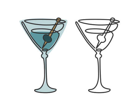 One line drawing martini glass with olive on white background. Two kinds colored cartoon graphic sketch and black white. Continuous line way. Hand drawn party drinks concept. Freehand drawing style.