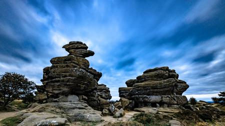Clouds drift over Brimham Rocks, North Yorkshire