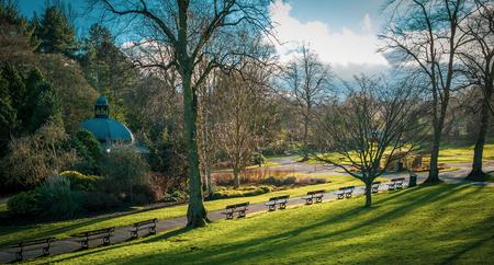 Benches in the Valley Gardens, Harrogate, North Yorkshire 版權商用圖片