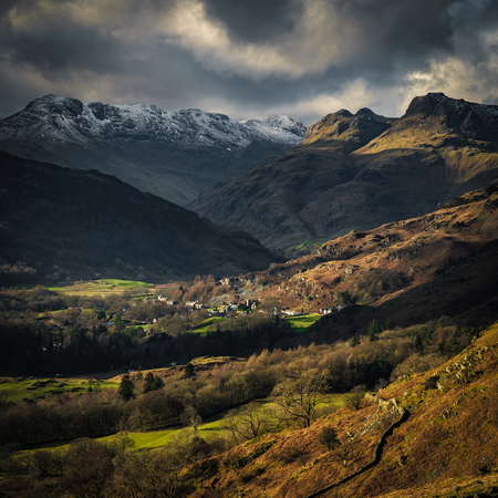 The Langdale Pikes from Loughrigg Fell, English Lake District Stock fotó