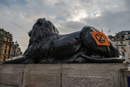 Extinction Rebellion flag on Lion, Trafalgar Square