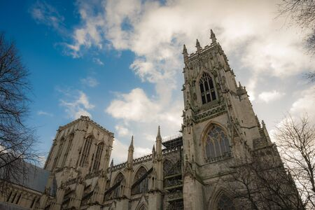 York Minster against a blue sky, York, UK