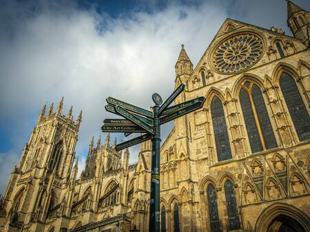 York Minster Behind a Street Sign, York, UK