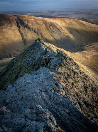 View along Sharp Edge on Blencathra, Lake District