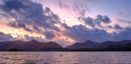 Sunset on Derwentwater and Catbells, Lake District, England