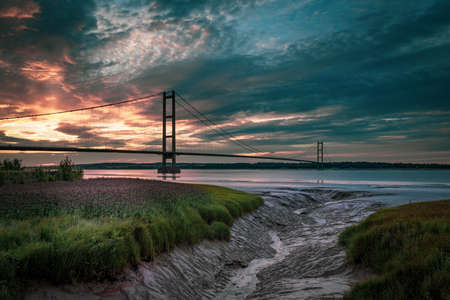 Thye Humber Bridge at sunset, Yorkshire