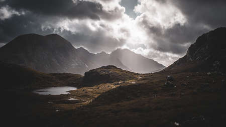 The view towarda Garbh Bheinn, Bla Bheinn and Clach Glas, Cuillins, Isle of Skye